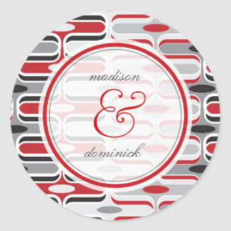 Retro Zig Zag Red Ogee Mod Pattern Wedding Sticker