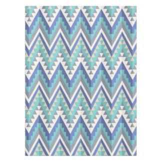 Retro Zigzag Chevron Teal Blue Grey Taupe White Tablecloth
