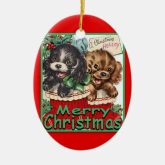 RetroChristmasPuppies-CERAMIC Oval Ornament