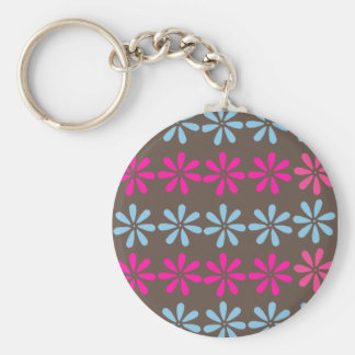 retroflowerprint basic round button keychain