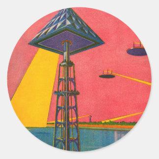 Rétros canaux vintages de Sci fi de kitsch de Mars Sticker Rond