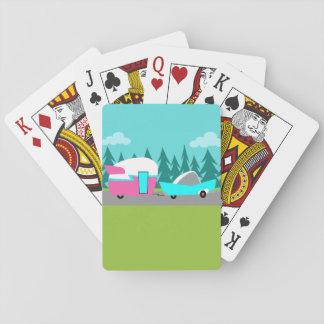 Rétros cartes de jeu de campeur/remorque et de jeux de cartes