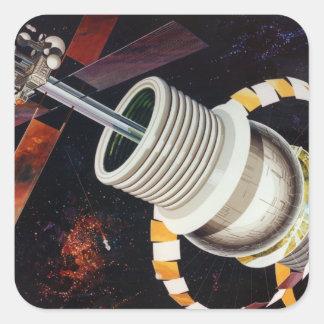 Rétros colonies vintages de l'espace de Sci fi de Sticker Carré