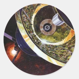 Rétros colonies vintages de l'espace de Sci fi de Sticker Rond