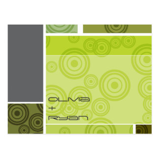 rétros économies de vert de blocs de cercles de carte postale