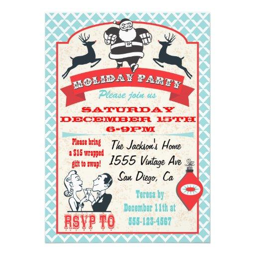 Rétros invitations de cocktail de vacances de Noël