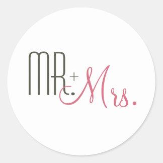Rétros joints modernes d'enveloppe de mariage autocollant rond