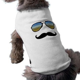 Rétros lunettes de soleil drôles avec la moustache tee-shirts pour chien