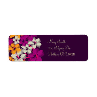"""""""return address"""" Blossoms & Swirls Plum Purple Return Address Label"""