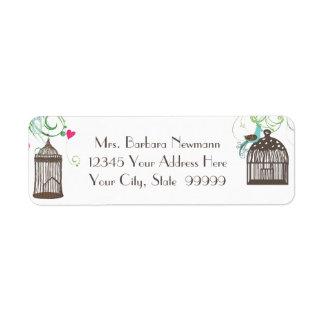 Return Address Bridal Shower Mod Bird Cage Heart