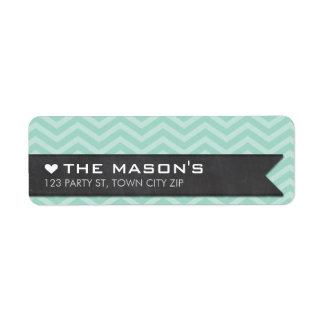 RETURN ADDRESS chevron zigzag mint chalkboard