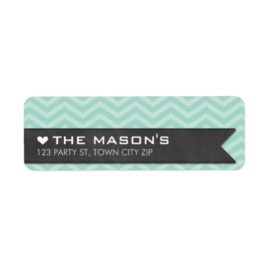 RETURN ADDRESS chevron zigzag mint chalkboard Return Address Label