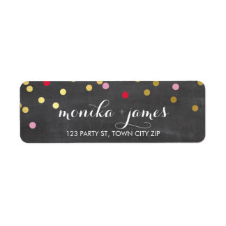 RETURN ADDRESS confetti gold red pink chalkboard Return Address Label