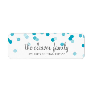 RETURN ADDRESS confetti polka dot bright aqua blue Return Address Label