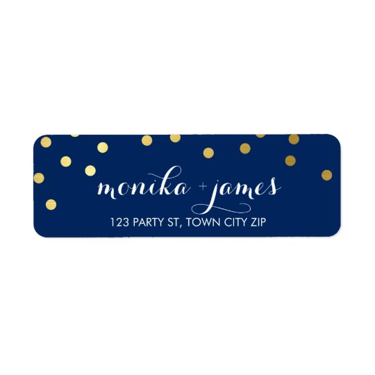 RETURN ADDRESS confetti polka dot gold navy blue Return Address Label
