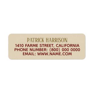 return address contact information on beige