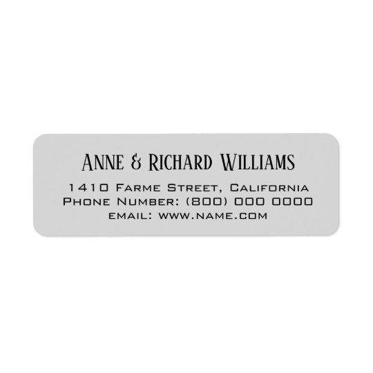 return address contact information on grey