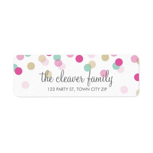 RETURN ADDRESS cute confetti polka dot colorful Labels