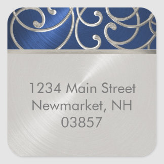 Return Address Elegant Blue and Silver Filigree Square Sticker