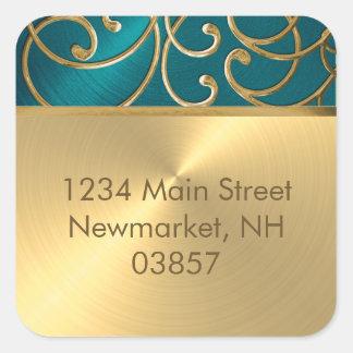Return Address Elegant Teal Blue and Gold Filigree Square Sticker