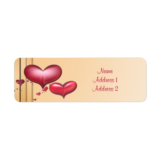Return Address Label Art Deco Red Hearts