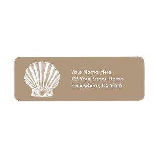 Return Address Label//Beige Sand Sea Shell