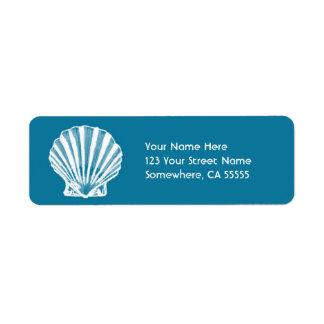 Return Address Label//Blue Sea Shell