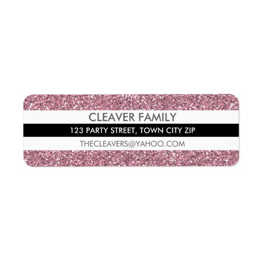 RETURN ADDRESS LABEL modern stripe glitter pink