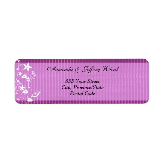 Return Address Label | Pink Flower Butterfly