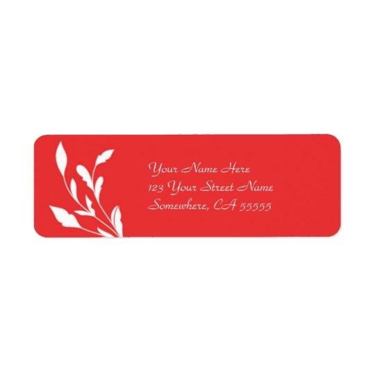 Return Address Label//Poppy Red Flourish