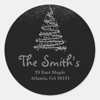 Return Address Label Silver Holiday/Christmas Tree