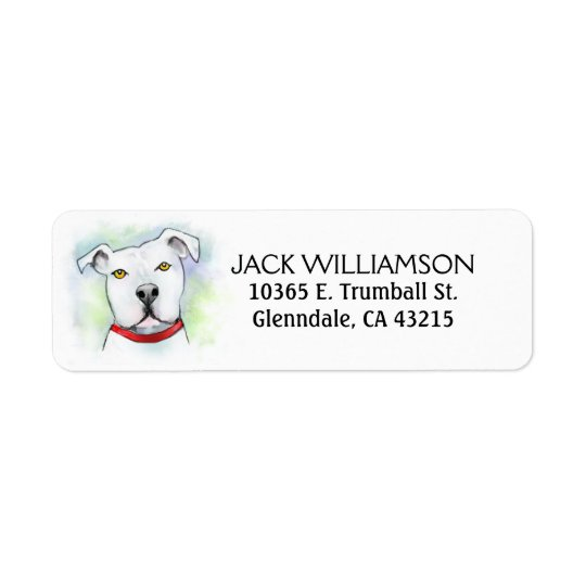 Return Address Label - White Pit Bull Head