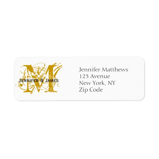 Return Address Labels Chic Monogram Gold