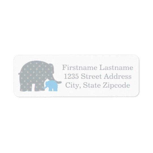 Return Address Labels   Elephants Blue and Grey