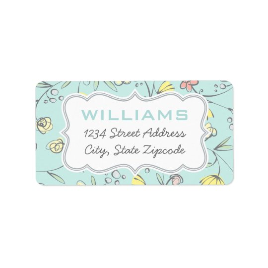 Return Address Labels | Floral Design in Blue