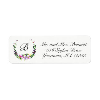 Return Address Labels | floral wreath initials