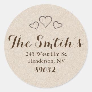 Return Address Labels - Hearts Round Sticker