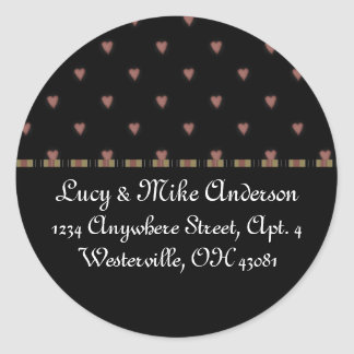 Return Address Labels:: Little Chic Hearts Design Classic Round Sticker