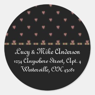 Return Address Labels:: Little Chic Hearts Design Round Sticker