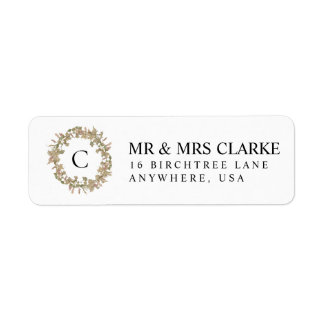 Return Address Labels Monogram Floral Wreath