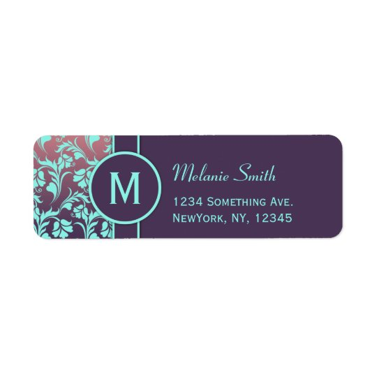 Return address labels monogram purple Custom