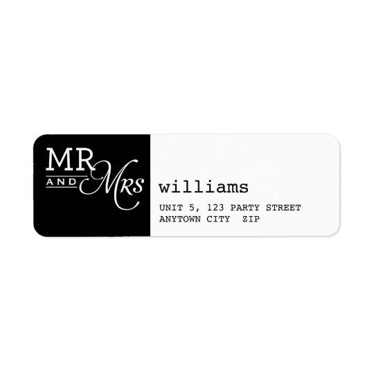 RETURN ADDRESS LABELS mr & mrs typography black