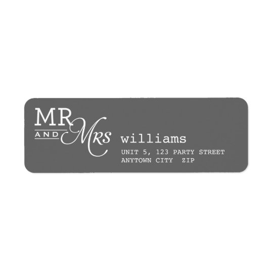 RETURN ADDRESS LABELS mr & mrs typography grey