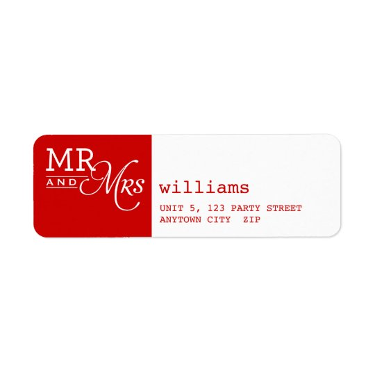 RETURN ADDRESS LABELS mr & mrs typography red