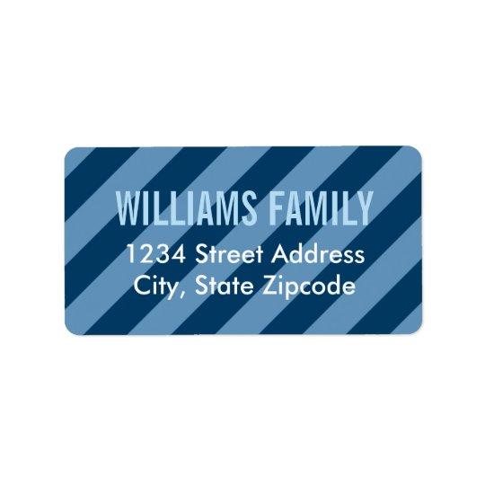 Return Address Labels   Navy Blue Stripes Pattern