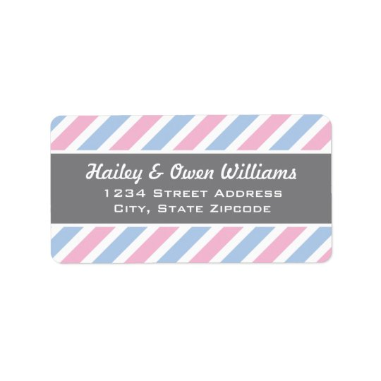 Return Address Labels | Pink and Blue Stripes