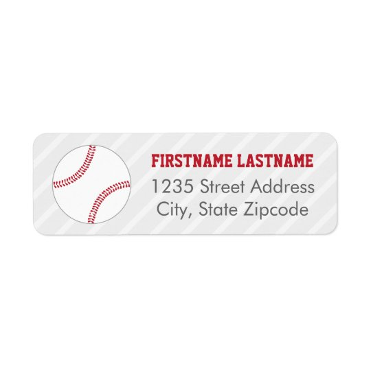 Return Address Labels | Red Baseball Theme