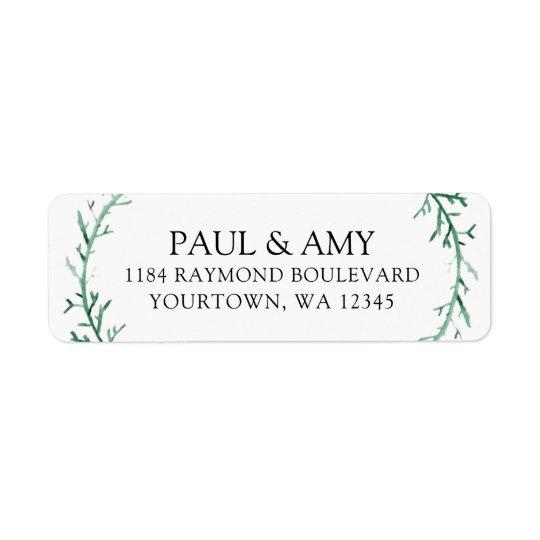 Return Address Labels Wedding Watercolor Wreath