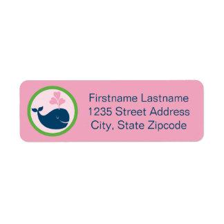 Return Address Labels   Whale Navy Blue Pink Green