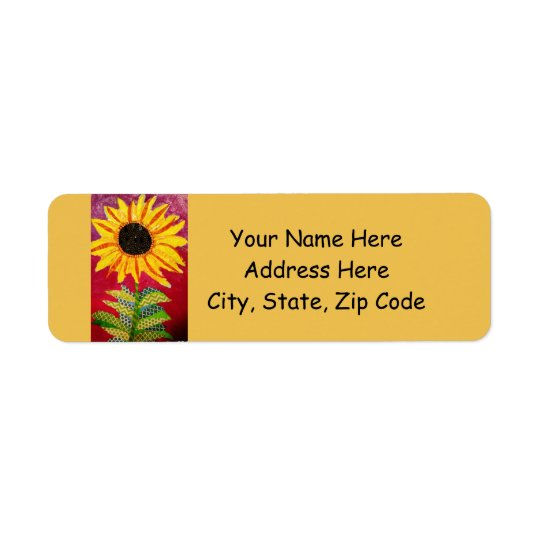 Return Address Labels with Bright Sunflower